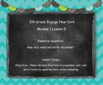 Engage New York (Eureka) Math Grade 5-Module 1 Lesson 5 SMART Notebook
