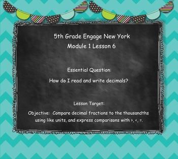 Engage New York (Eureka) Math Grade 5-Module 1 Lesson 6 SMART Notebook