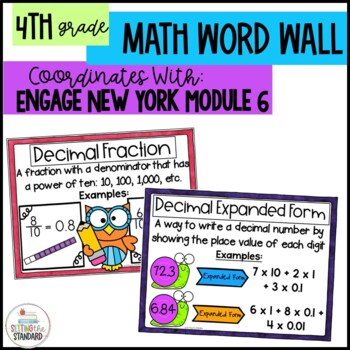 Engage New York Math Vocabulary Posters- Module 6 4th Grade