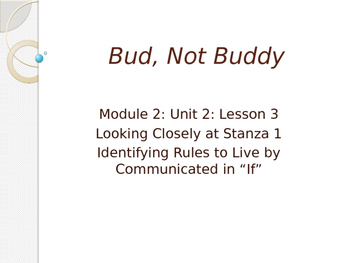 Engage New York Module 2A Unit 2 lesson 3 Bud, Not Buddy