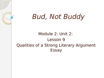 Engage New York Module 2A Unit 2 lesson 9 Bud, Not Buddy