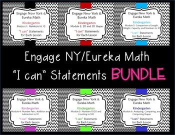 "Engage New York/Eureka Math Mod 1-6  ~ ""I can"" Bundle {Kindergarten}"