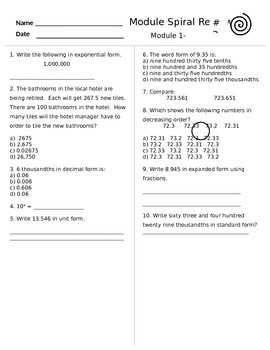 Engage Ny Grade 5 Math Module 1 Spiral Review Sheets Lessons 1-8