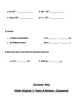 Engage Ny Grade 5 Math Module 1, Topic A Review & HW Worksheets With Answer Keys