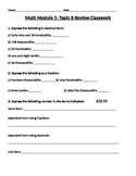 Engage Ny Grade 5 Math Module 1 Topic B Review & HW Sheets with Answer Keys