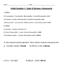 Engage Ny Grade 5 Math Module 1 Topic D Review & HW sheets with Answer Keys