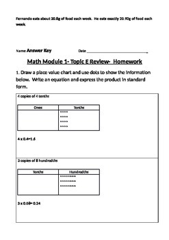 Engage Ny Grade 5 Math Module 1 Topic E Review & HW Sheets with Answer Keys