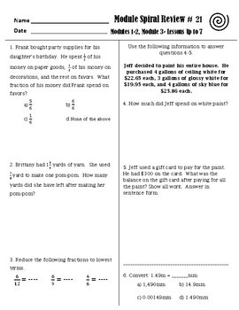Engage Ny Grade 5 Math Module 3 Spiral Review Sheets Complete Set