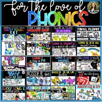 Growing Phonics Bundle: Games, Stations, QR Code Hunts, Passages and Printables!