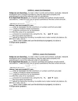 Engage or Eureka Success Criteria Module 2 Lesson 1 to 9 Grade 5
