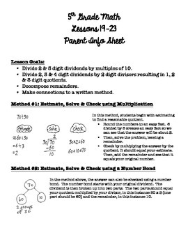 5th Grade EngageNY/Eureka Math - Module 2 - Lessons 19-23 Parent Info Sheet