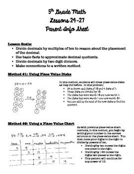 5th Grade EngageNY/Eureka Math - Module 2 - Lessons 24-27 Parent Info Sheet