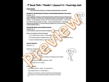 5th Grade EngageNY/Eureka Math - Module 3 - Lessons 13-16 Parent Info Sheet