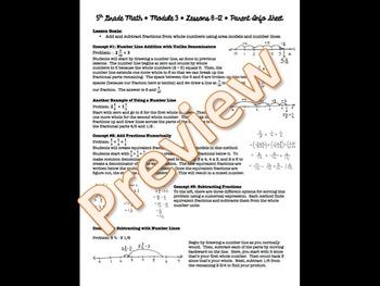 5th Grade EngageNY/Eureka Math - Module 3 - Lessons 8-12 Parent Info Sheet