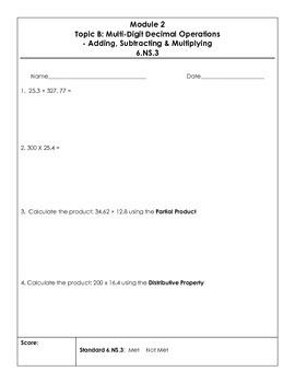 Eureka 6th grade Module 2 Topic Quizzes