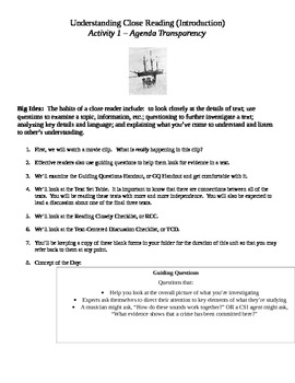 EngageNY 7th Grade ELA: Accompanying Student Packet - Part One Reading Closely