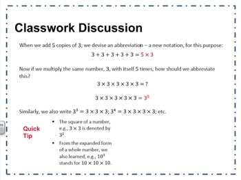 EngageNY 8-M1-L1: Exponential Notation - Math 8th Grade Common Core