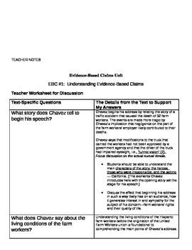 EngageNY: Evidence-Based Claims, Student Packet #1
