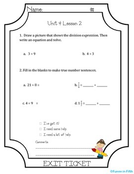 EngageNY Fifth Grade Module 4: Lessons 1-33 Exit Tickets