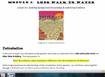 EngageNY Gr.7 Long Walk to Water - Student Working Packets Unit 1 -- BUNDLE!