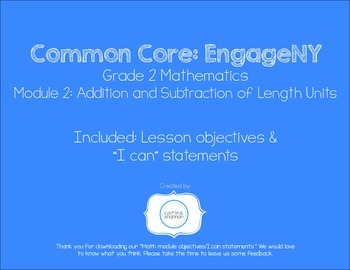 EngageNY Grade 2 Module 2 lesson objectives & I can statements