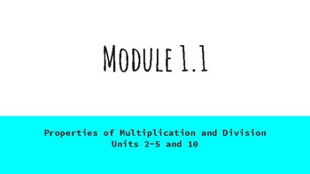 EngageNY Grade 3- Module 1.1
