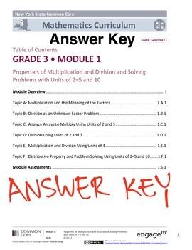 EngageNY (Eureka Math) Grade 3 Module 1 Answer Key by ...