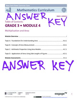EngageNY (Eureka Math) Grade 3 Module 4 Answer Key