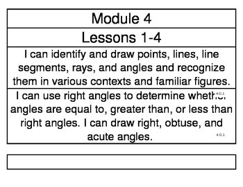 EngageNY Grade 4 Module 4 Learning Targets