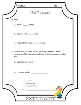 EngageNY Grade 4 Module 7 Lessons 1-18 Exit Tickets