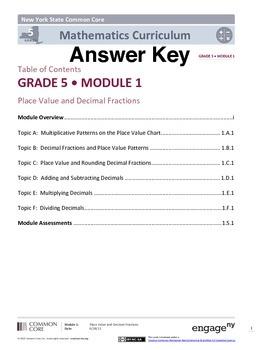 EngageNY (Eureka Math) Grade 5 Module 1 Answer Key