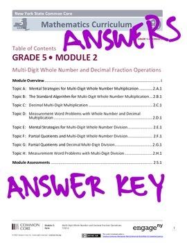 EngageNY Grade 5 Module 2 Answer Key by MathVillage | TpT