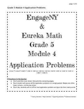 EngageNY Grade 5 Module 4 Application Problems