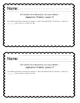EngageNY Kindergarten Math Module 1 Application Problem Papers