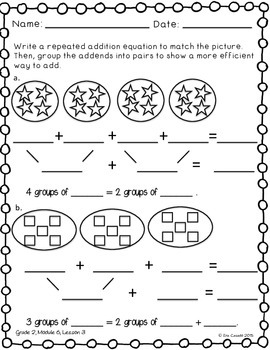Repeated Addition Technique Flip book (EngageNY 2nd Grade Module 6 Lesson 3)