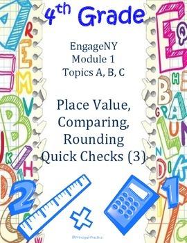 4th Grade Place Value, Comparing, Rounding Quick Checks