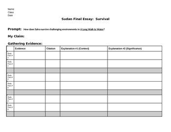 EngageNY: Module 1 Sudan, Unit 2 - Write Salva's Survival Essay Graphic Org