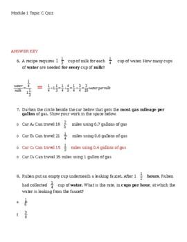 EngageNY Module 1 Topic C Quiz
