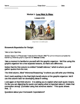 EngageNY: Mod1, Unit 1 Long Walk to Water Lesson 10 Student Work Packet