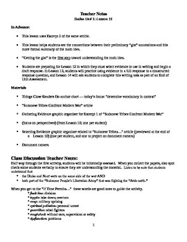 EngageNY: Mod1, Unit 1 Long Walk to Water Lesson 11 Student Work Packet