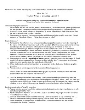 EngageNY: Mod1, Unit 1 Long Walk to Water Lesson 4 Student Work Packet