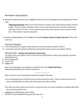 EngageNY: Module 2A (Lyddie), Unit 1 Les 13: Explanatory vs. Argument