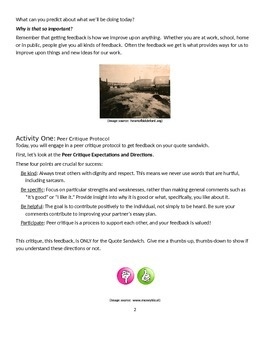 EngageNY: Module 2A (Lyddie), Unit 1 Les 17: Peer Critique