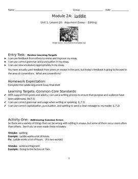 EngageNY: Module 2A (Lyddie), Unit 1 Les 20: Editing the Lyddie Essay