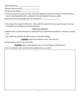 EngageNY: Module 2A (Lyddie), Unit 1 Lesson 4:  Explicit vs. Implicit Detail