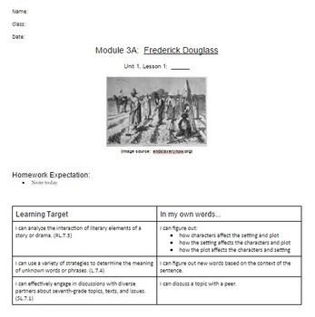 EngageNY: Module 3 (F. Douglass), Unit 1 Les 1