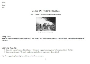 EngageNY: Module 3 (F. Douglass), Unit 1 Les 3