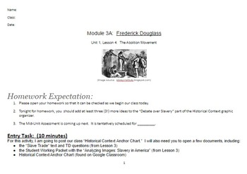 EngageNY: Module 3 (F. Douglass), Unit 1 Les 4