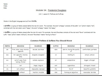 EngageNY: Module 3 (F. Douglass), Unit 1 Les 8