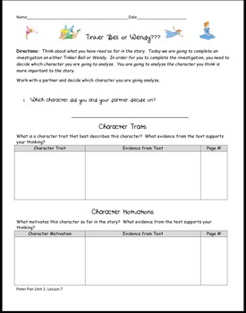 EngageNY Module 3 Peter Pan Class worksheets Unit 1 Lessons 6-12